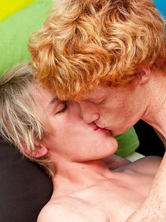 Blonde dude rides hard on top of his ginger boyfriend's thick meat pole