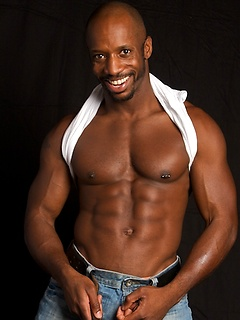 Insanely muscular black stallion loves teasing with his firm ass and hard abs