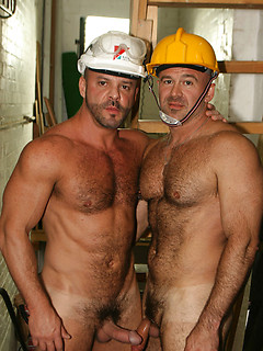 Hot and hairy construction workers strip on the job site to show off their bodies