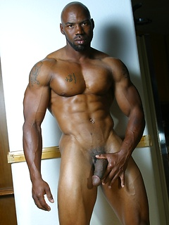 Naked ebony hunk with a big cock and thick muscles is irresistibly sexy