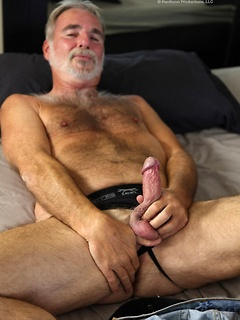 Sexy bearded grandpa pulls out his cock with a thick mushroom head and jerks off