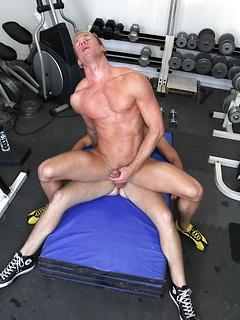 His hard abs look amazing as he gets ass fucked hard in the gym