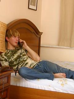 Gorgeous blonde twink tastes his boyfriend's massive schlong before being nailed