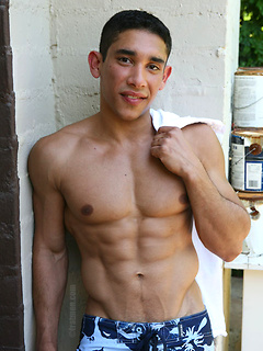 Handsome guy takes off the clothes outdoors before he jerks his big dick