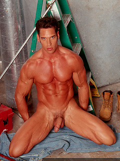 Super hot abs and muscular arms on the stripping handyman showing off his dick