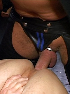Leather daddy in sexy chaps fucks his big bareback cock in a tight ass and cums