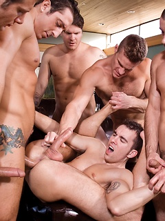 Intense gay orgy session with a bunch of muscular and well-endowed stallions