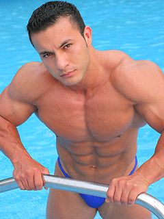 Nothing pleases a strong dude like posing by the pool in the underwear