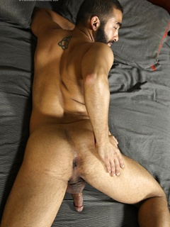 Hairy exotic dude loves showing off his ass and playing around with his dick