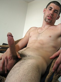 Sexy balls and a big cock on the solo Latin guy stripping and stroking