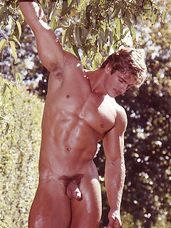 Vintage gay hunk with a stunningly muscular body and a sexy mustache