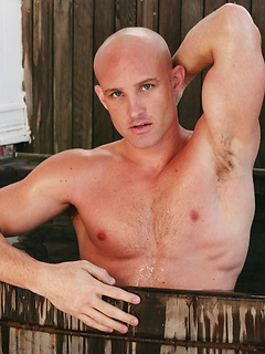 Gorgeous bald gay guy with a hot hard body goes skinny dipping