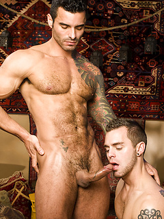 Tattooed gay guy makes a naughty friend happy by fucking his tight ass hard