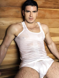 Naughty stud Paddy OBrain likes to wear wet clothes while he poses in a sauna