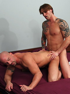 Bald gay guy needs to blow a cock before getting his butt fucked roughly