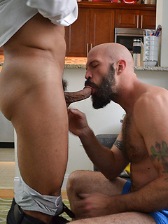 Bearded gay dude pleases a kinky friend by sucking every inch of his dick