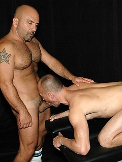 Gay daddies in a hot bareback orgy with deep sucking and butt fucking