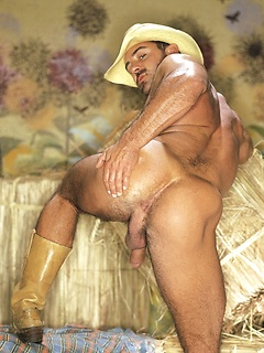 Vintage gay hunk with a huge dick and a well built hairy chest