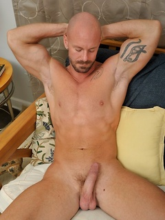 Solo bald gay guy Mitch grabs his dick and gives it a few strokes for you