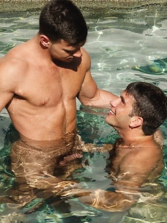 Dick sucking hottie in the swimming pool takes his lover to bed for fucking