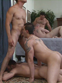 Hot and bareback orgy session with a bunch of horny and hung gay studs