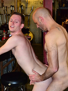 Bald guy gets his long cock sucked before he fucks a skinny gay friend