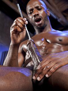 Gorgeous solo black gay model slides a sounding rod down his rock hard cock