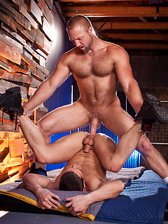 Two horny hunks bang each other+s tight assholes with their thick meat poles