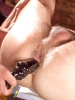 Hunks in a hunting cabin fuck in a hard body threesome with deep anal