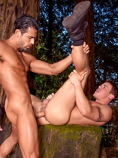 Buff guys fool around in the woods with hot cocksucking and a fantastic ass pounding from behind