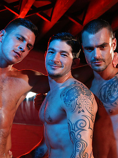 Three hotties pose for you and get naked so they can fuck and suck cock