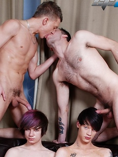 Emo boys and their top boyfriends fucking in a sexy foursome scene