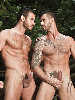 Gorgeous guys in the woods play in a waterfall and stroke their big dicks