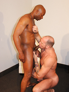 Black stud with an impressively large cock barebacks the ass of his white lover