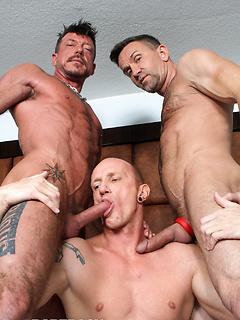 Matt Sizemore, Mason Garet and Ray Dalton pleasure their massive meat poles