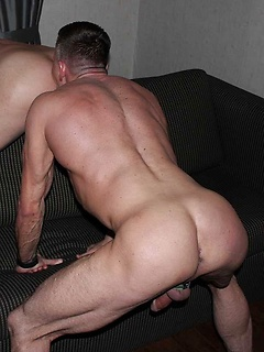 Gay daddies go bareback in a sexy gallery with blowjobs and butt fucking