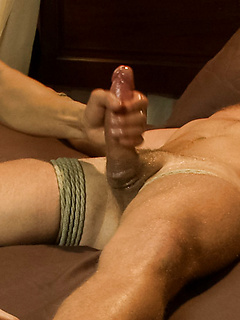 Landon Conrad allows several horny dudes to tie him up and have some fun