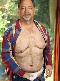 Chubby dude Jack Snow slowly takes off the clothes while he jerks his cock