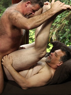 Jack Snow gets to please a horny friend by drilling his tight ass outdoors