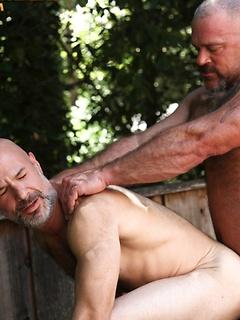 Two fit older stallions Evan Scott and Bronson Gates pleasure their boners