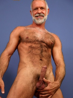 Hairy grandpa starts stripping down so he can play with his stiff dick