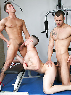 Marco Rubi finishes his workout before he starts fucking with two gay boys