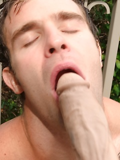 Horny inked stallion makes his very own shaft explode in his open mouth