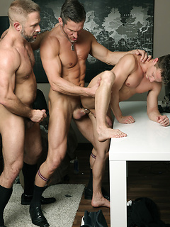 The new guy at the office bottoms in a threesome with two hot older hunks