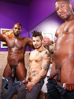 Three horny guys like to pose together with their cocks out in the bathroom