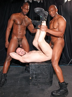 White military hottie bottoms for two black dudes in a lusty anal threesome