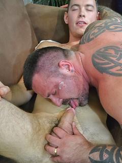 Bear pornstar Marc Angelo and cute young guy Dean Wyatt fool around