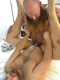 Hairy bear Rusty G loves plowing Rex Blue's tight anus with his fat shaft