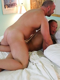 Hot gay bears suck and fuck in a great bareback gallery with a thick creampie