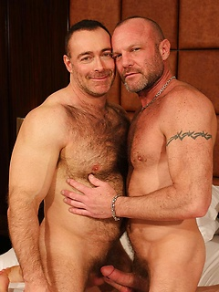 Hot hairy chests and hard bodies on these two gay pornstars hooking up